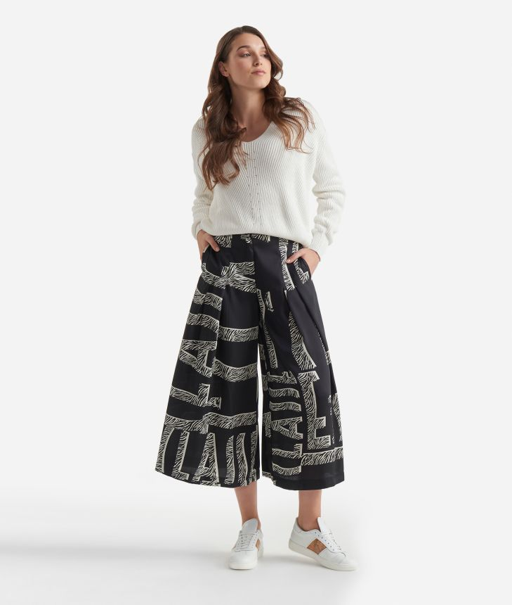 Twill wide pants with Maxi Lettering print Black and White,front