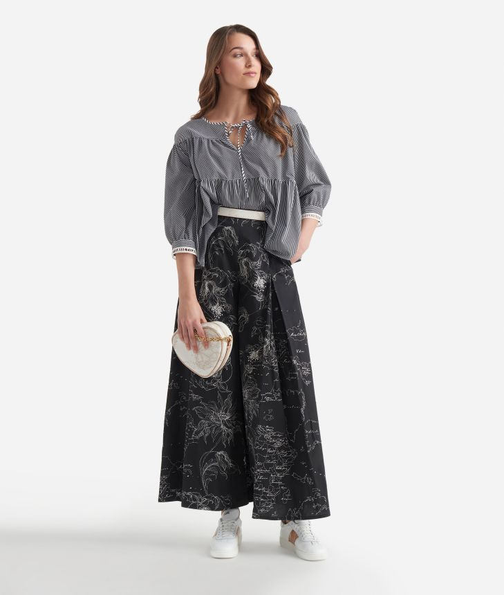 Wide pants in popeline cotton with floral print Black and White,front