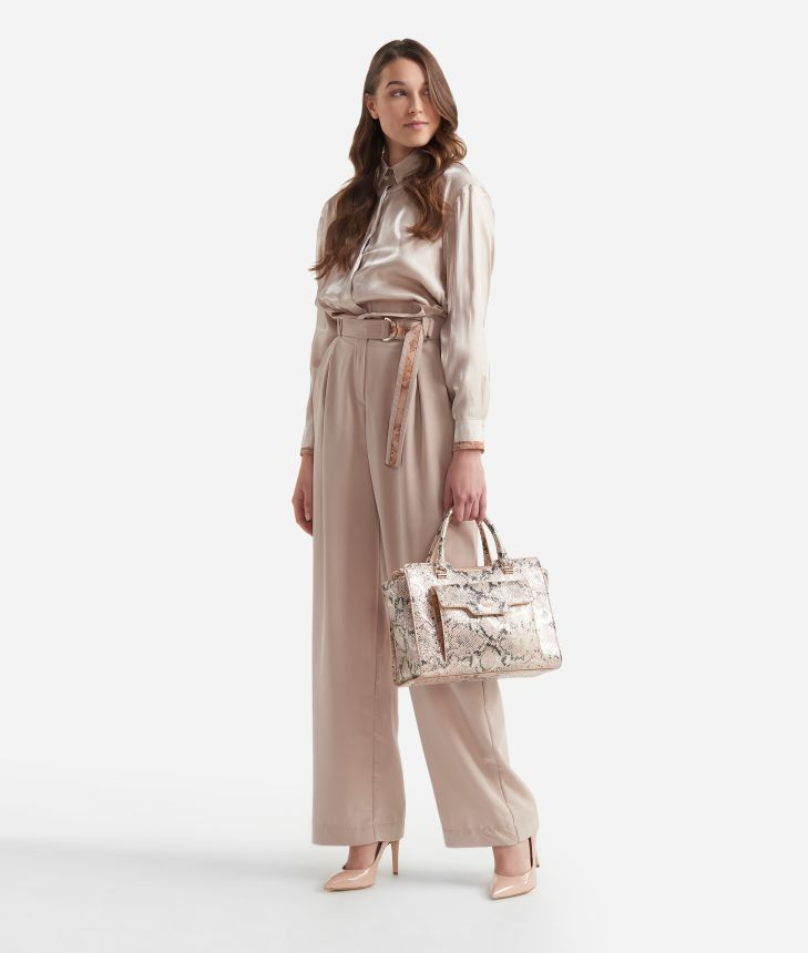 Wide pants with high waist in smooth fabric Beige,front