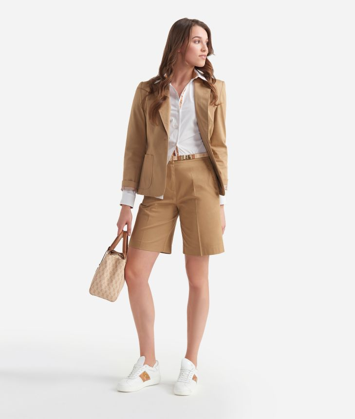 Bermuda shorts in stretch gabardine cotton Beige,front