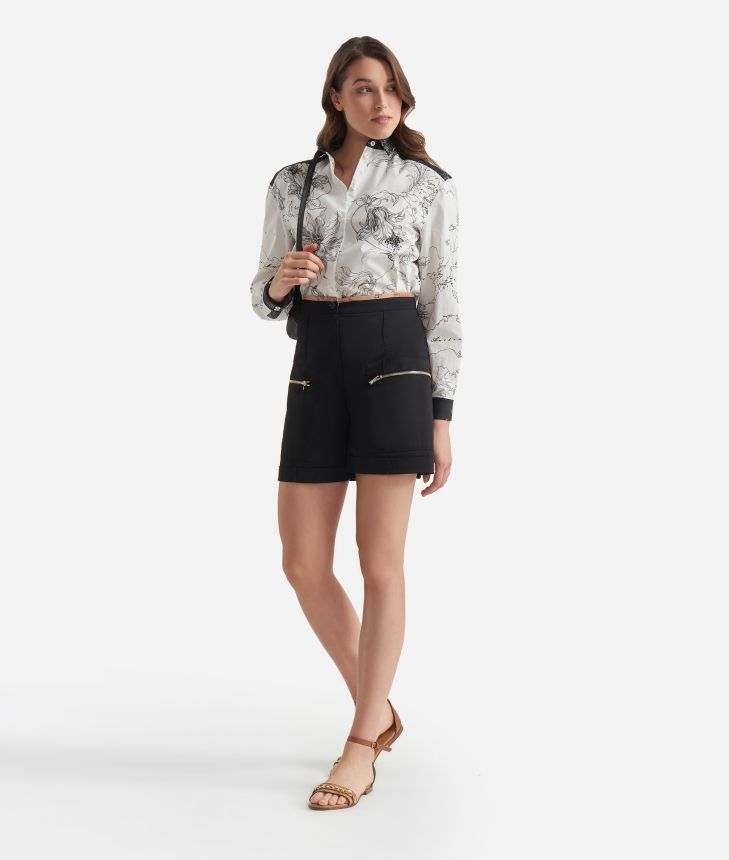 Shorts in stretch gabardine cotton Black,front