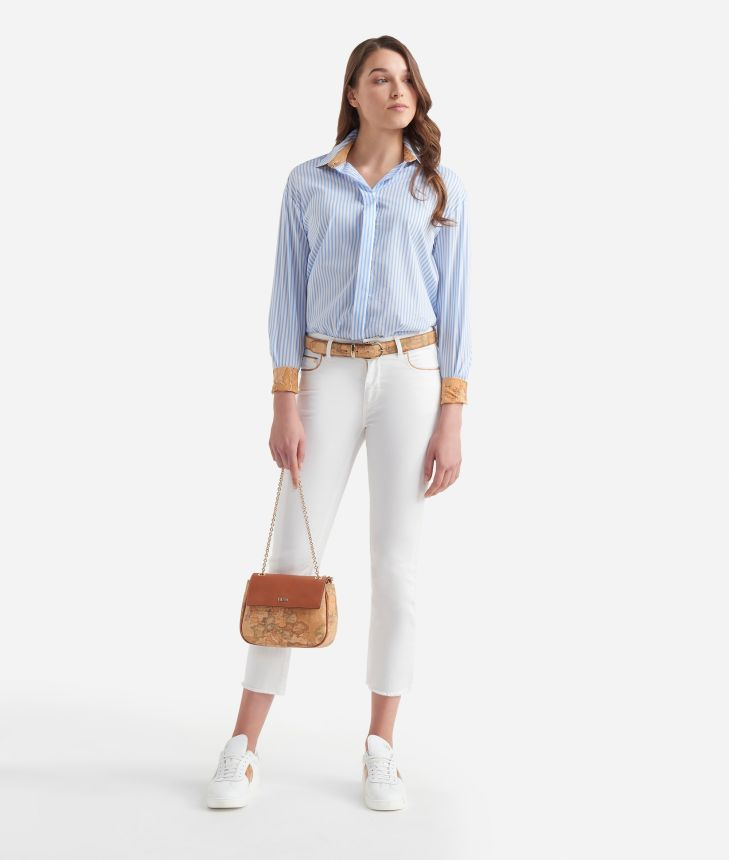 Jeans 5 tasche in drill stretch Bianchi,front
