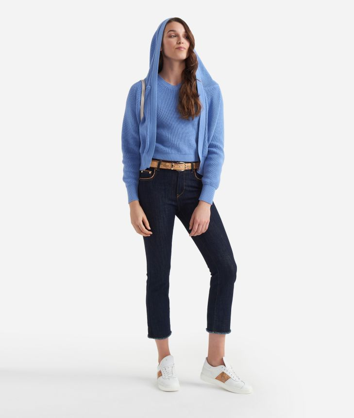 Jeans 5 tasche in denim trattato Blu Scuro,front