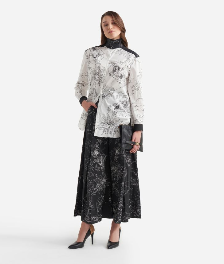 Oversized bicolor shirt with floral print Black and White,front