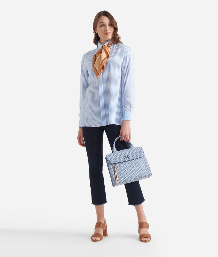 Wide shirt with stripes print White and Light Blue,front