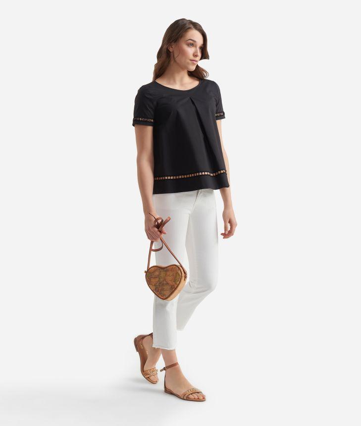 Blusa manica corta in popeline di cotone croccante Nera,front