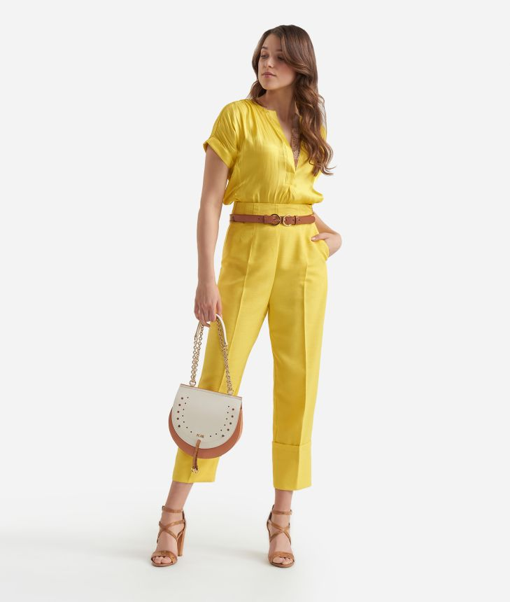 Short sleeves blouse in smooth iridescent fabric Yellow,front