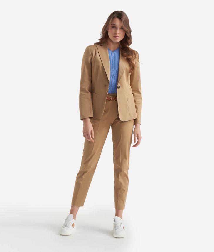 Gabardine stretch cotton unlined blazer Dark Beige,front