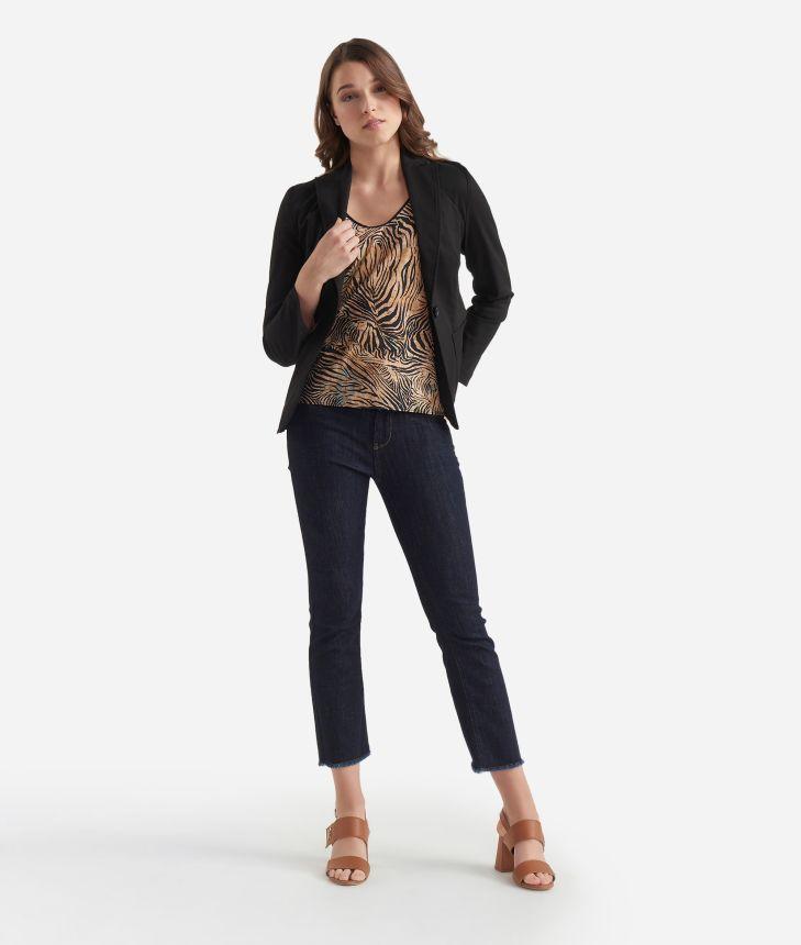 Gabardine stretch cotton unlined blazer Black,front