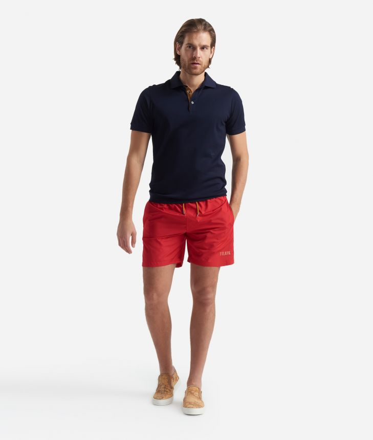 Swim trunks with Geo Classic details Red,front