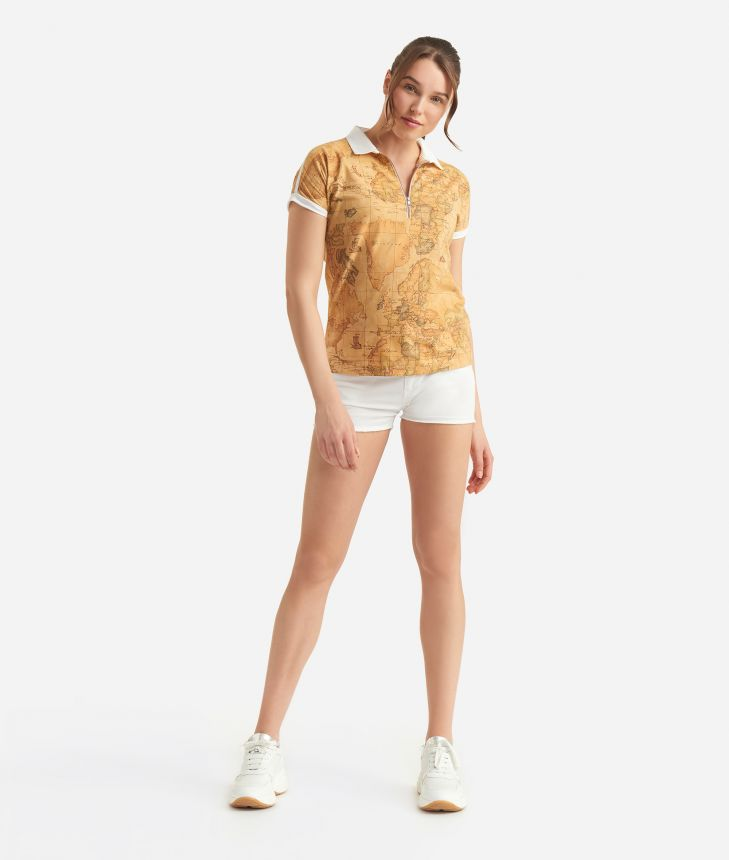 Donnavventura Polo with Geo Classic print,front