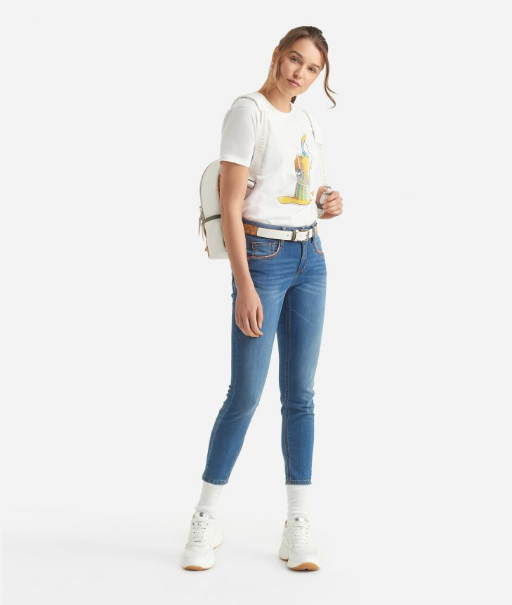 Donnavventura T-shirt in jersey cotton with can print White,front