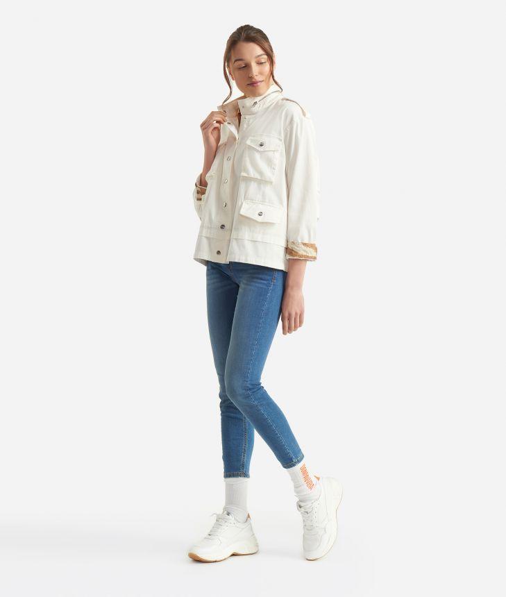Donnavventura Jacket in stretch cotton White,front