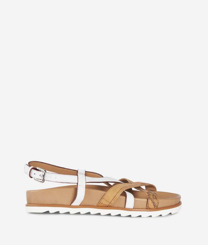 Donnavventura Flat sandals in leather and Geo Classic fabric White,front