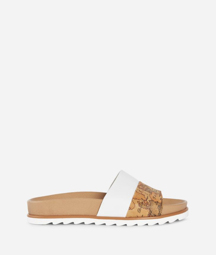 Donnavventura Sliders in leather and Geo Classic fabric White,front