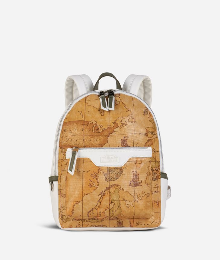 Donnavventura Backpack with Geo Classic print White,front