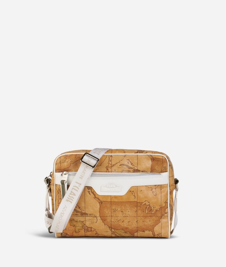 Donnavventura Crossbody bag with Geo Classic print White,front