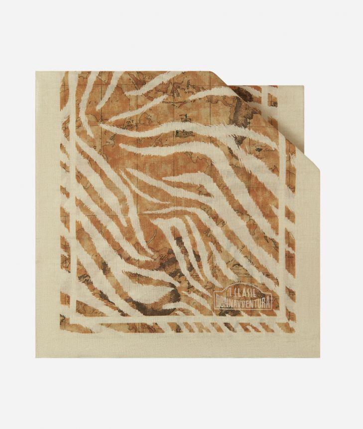 Donnavventura Stole with Geo Zebrato print Beige,front