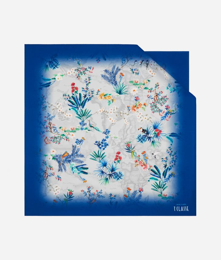Oasis print foulard 70 x 70 Blue,front