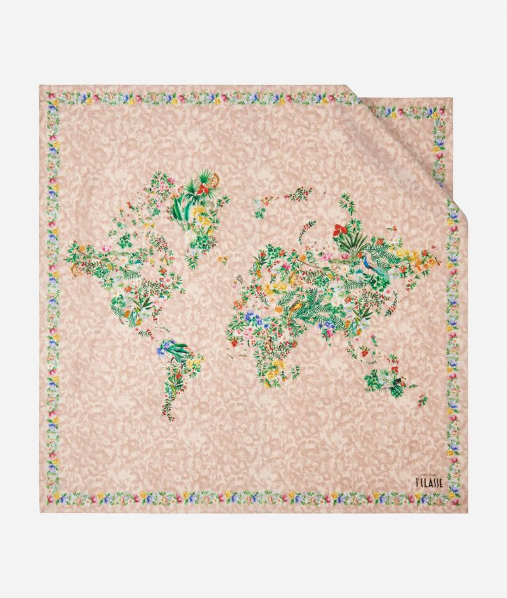 Oasis print foulard 90 x 90 Pink,front
