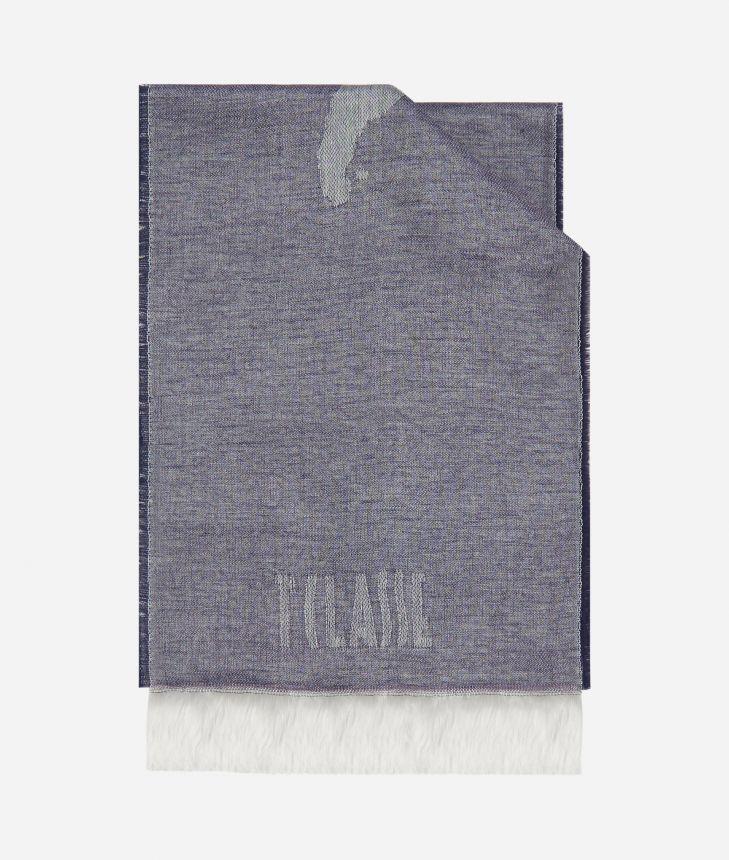 Geo Pieno print foulard 20 x 230 Blue,front
