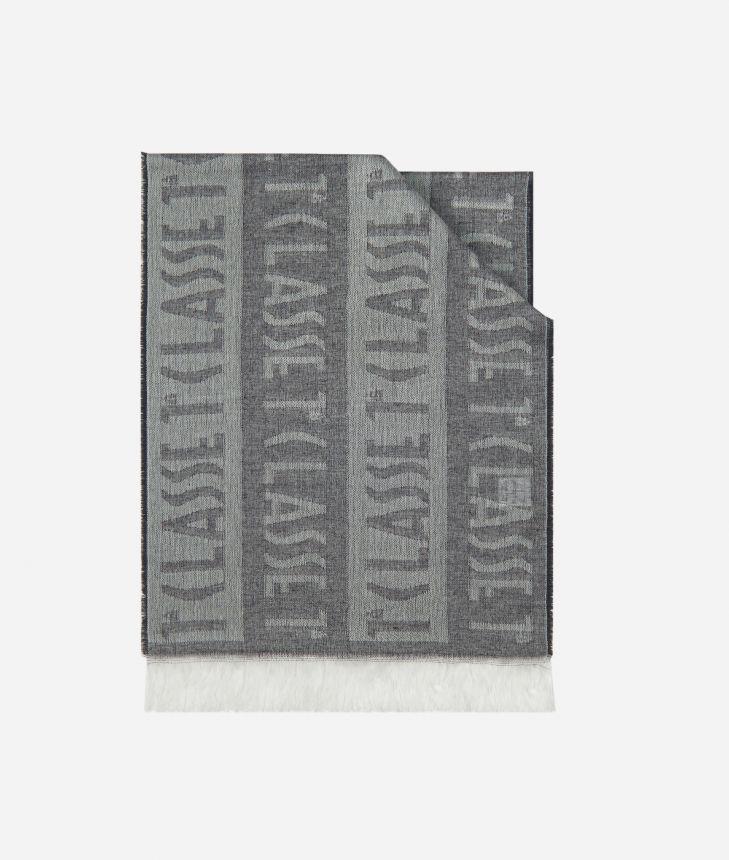 Logo all over stripes print foulard 30 x 180 Grey,front