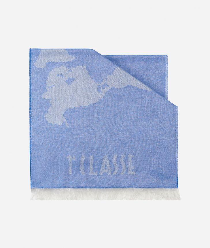 Geo Pieno print scarf 40 x 180 Blue,front