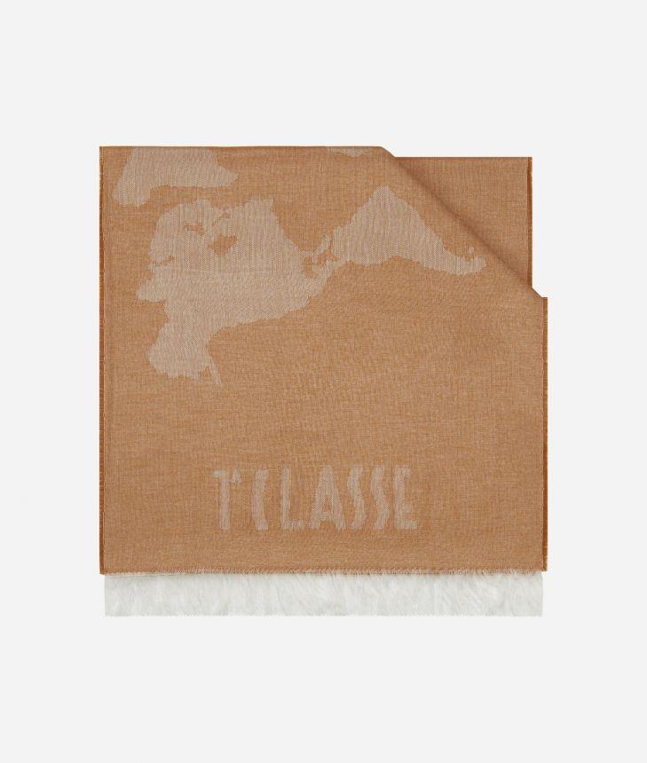 Geo Pieno print scarf 40 x 180 Beige,front