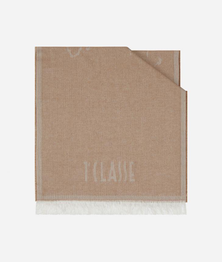 Geo Filetto print scarf 40 x 180 Beige,front