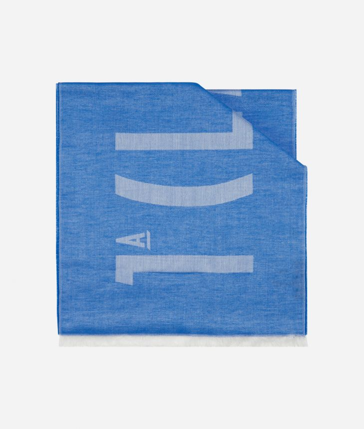 Logo 1A Classe print scarf 40 x 180 Blue,front