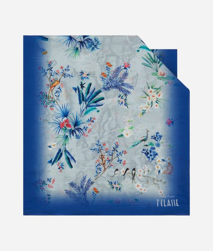 Geo Oasis print scarf 45 x 180 Blue,front