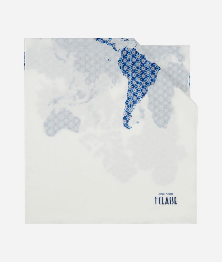 Geometric print scarf 40 x 180 Blue,front