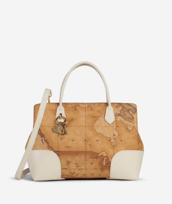 Geo Doré Handbag White,front