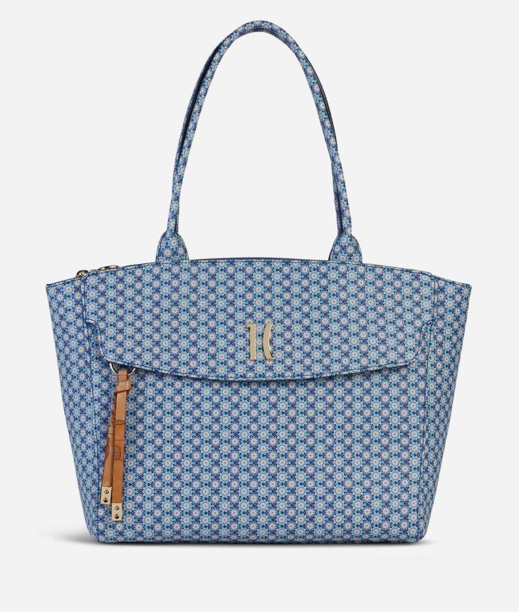 Mosaic Small Shopping Bag Blue,front