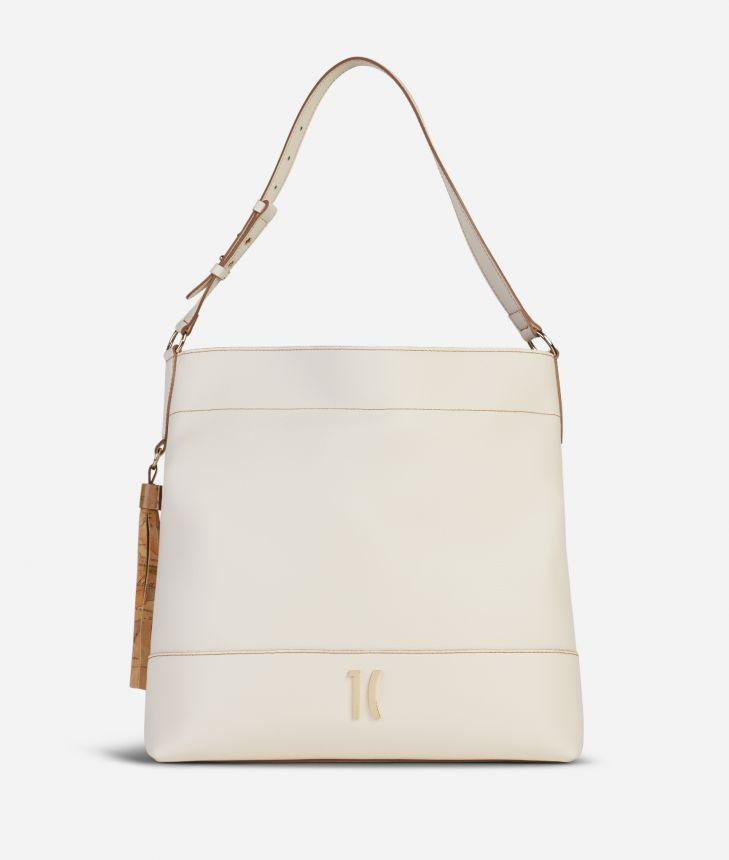 Praline Shoulder Bag in grainy leather White,front