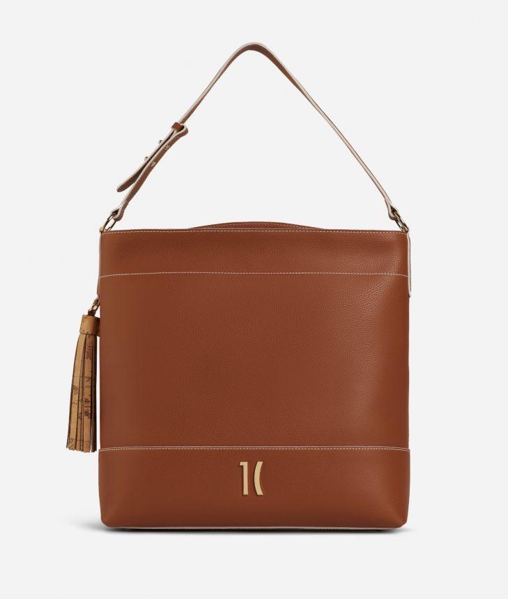 Praline Shoulder Bag in grainy leather Brown,front