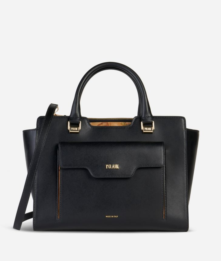 Marrakech Handbag in smooth leather Black,front