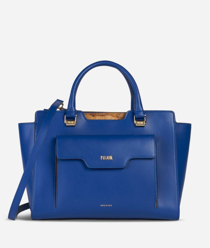 Marrakech Handbag in smooth leather Blue,front