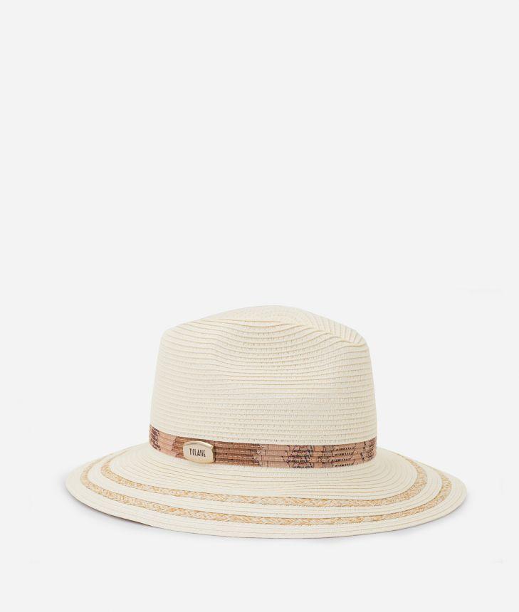 Cappello a cloche treccia cucita Bianco,front
