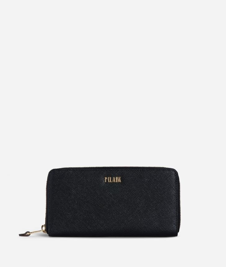 Medina City Zip-around Wallet Black,front