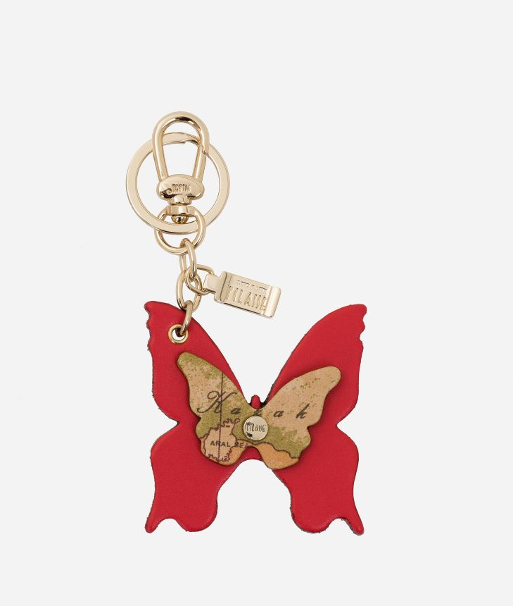 Butterfly shape Keyring Red,front
