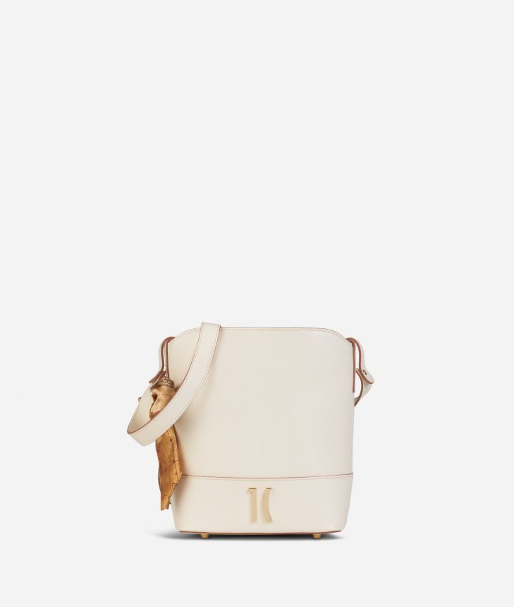 Journey Bag Secchiello in pelle Bianco,front