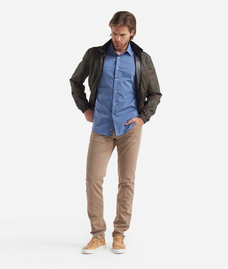 Slim fit shirt with short sleeves Blue,front