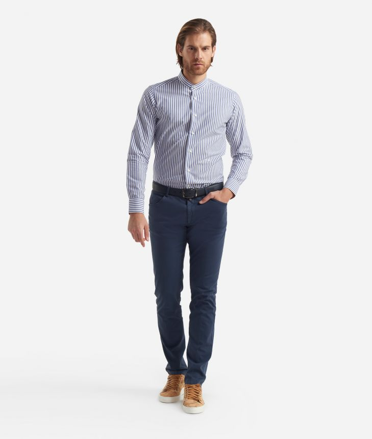 Slim fit shirt with bond collar Blu,front