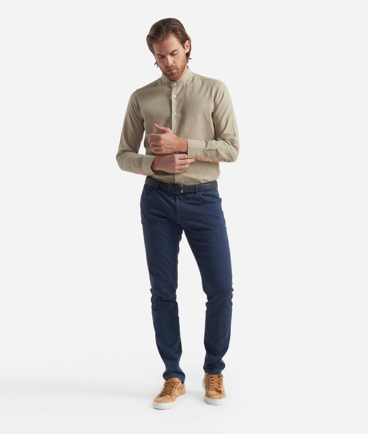 Slim fit shirt with bond collar Beige,front