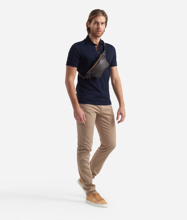 Cotton Polo with short sleeves Blue,front
