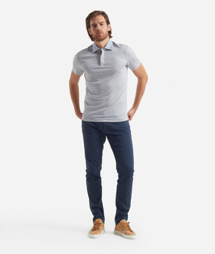 Linen and cotton Polo with short sleeves Grey,front