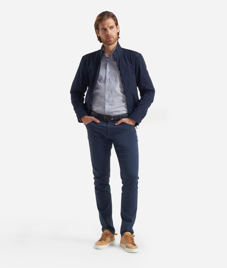 5-pockets slim fit trousers Blue,front