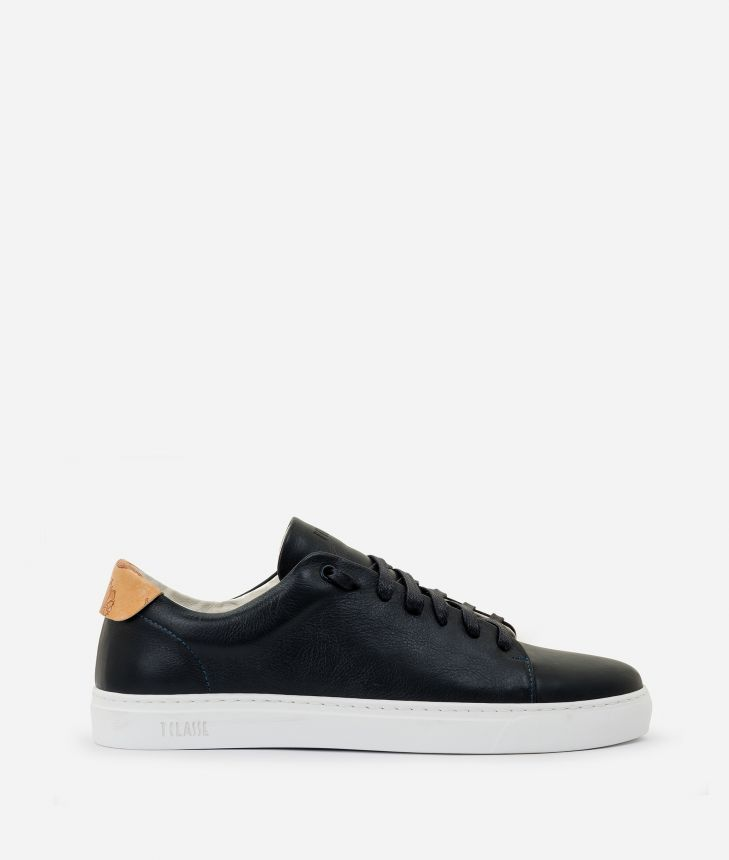 Sneaker in smooth cowhide leather Blue,front