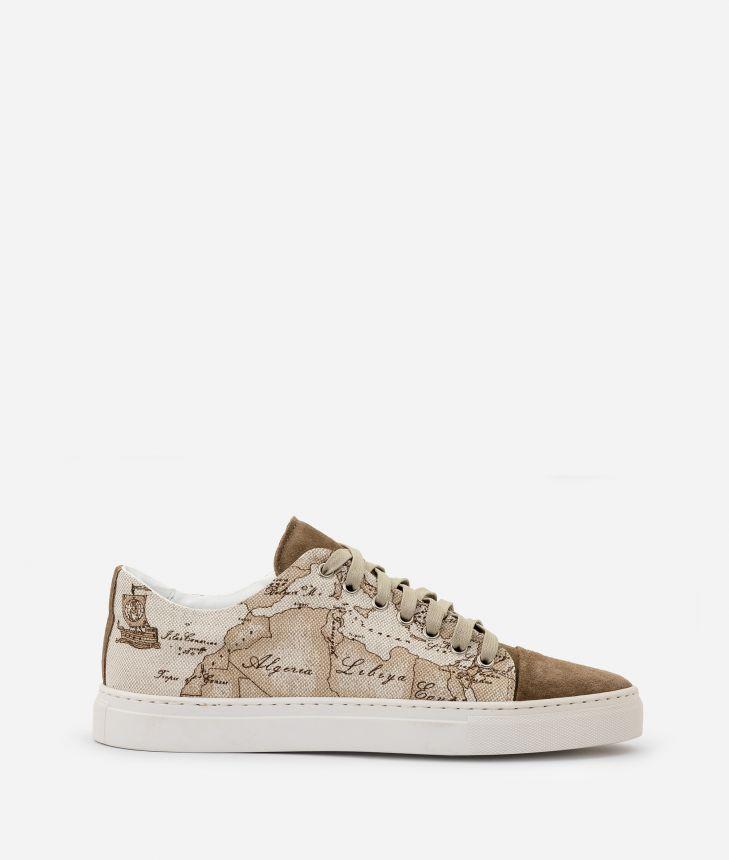 Sneaker in Geo Safari print linen blend,front